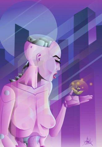 Futuristic lady cyborg