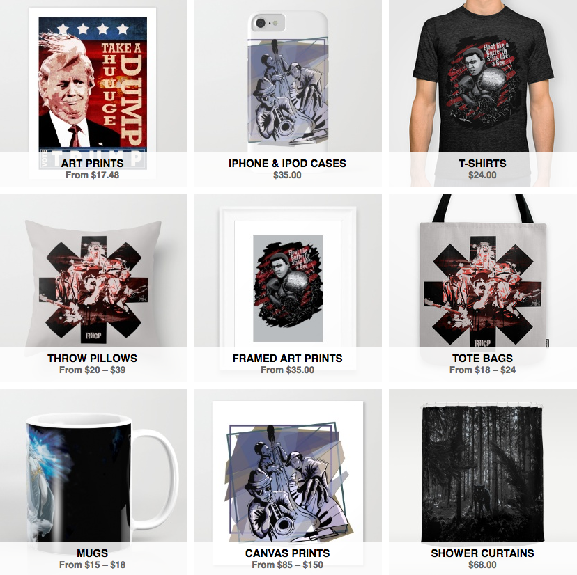 T-shirts, totebags, cases and more!