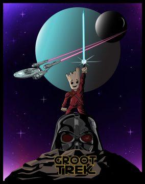 Print design for apparel. Star trek - star wars - guardians mash-up.